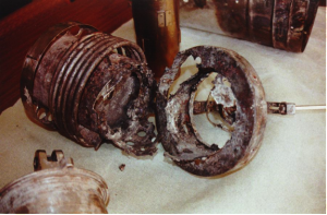 Remains of the solid fuel oxygen generator that combusted aboard Mir space station in 1997. - Credits: RSA/Energia
