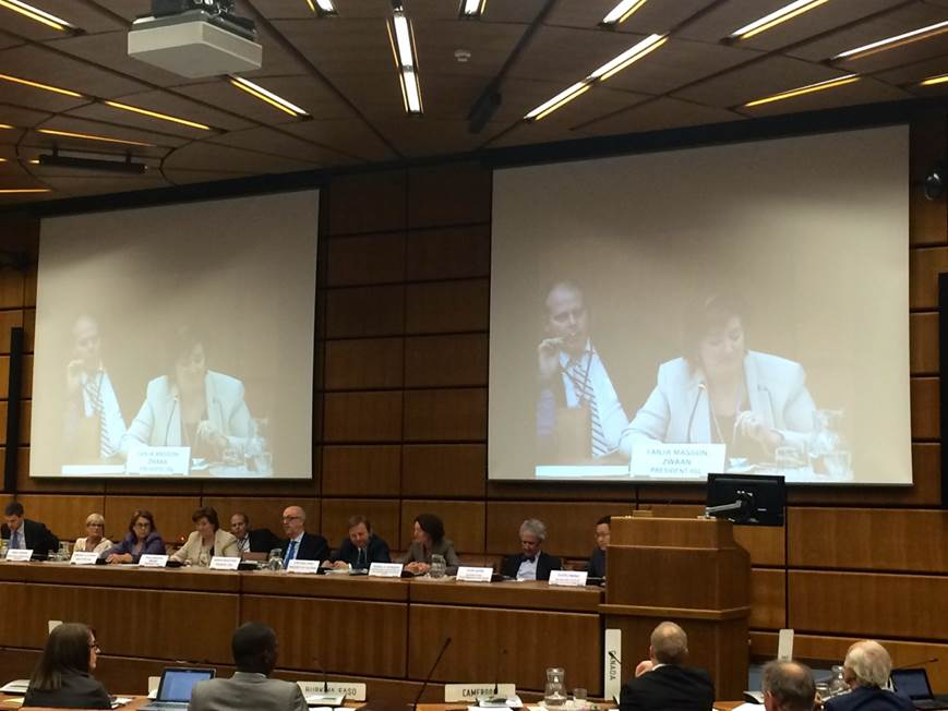 IISL-ECSL Symposium on Space Traffic Management at the COPUOS 54th Legal Subcommittee held in Vienna, Austria, April 13th, 2015. (Panelists from L to R: Alexander Soucek, Diane Howard, Simonetta Di Pippo, Tanja Masson-Zwaan, Niklas Hedman, Sergio Marchisio, Stephan Hobe, Isabelle Rongier, Yvon Henri, Guoyu Wang) (Credits: Chris Johnson,Secure World Foundation)
