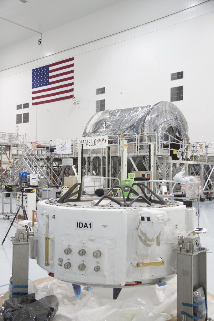 The IDA-docking adapter in the Space Station Processing Facility for flight CRS-7. credits: NASA