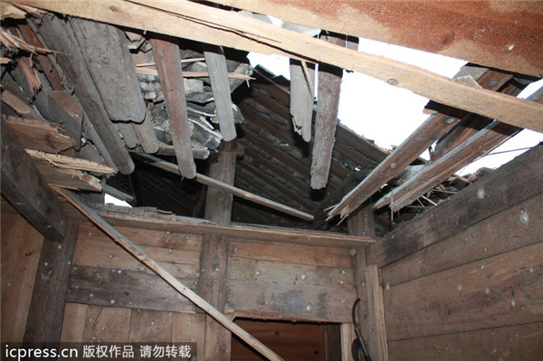 Long March IIIB rocket debris hit two houses in 2013. Credits: Sina News