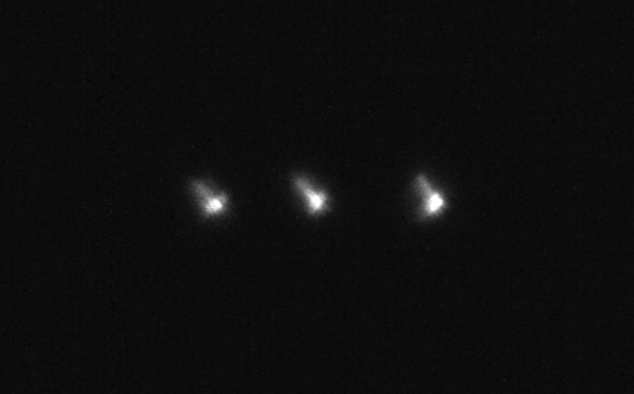 Unprocessed frames of USA-245 shown at real size