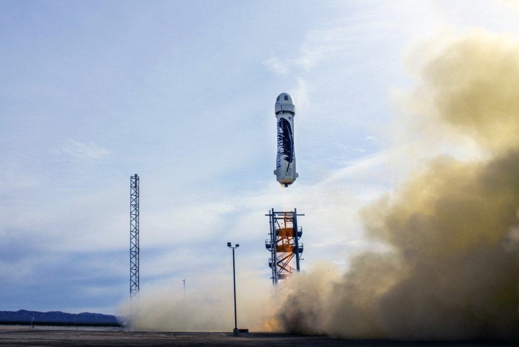 Launch of New Shepard's historic flight. credits: Blue Origin
