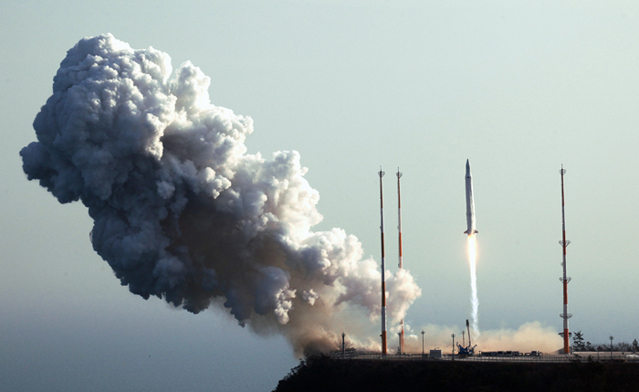 Korea's first successful Naro rocket launch takes place at Naro Space Center in Goheung, Jeollanam-do (South Jeolla Province) at 4 p.m. on January 30, 2013. – Credits: KARI.