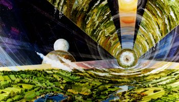 An artist's depiction of a vast cylindrical space colony ship containing more than a million people on a voyage to the stars. Artist Rick Guidice created this vision for NASA in the 1970s. Credit: Rick Guidice/NASA Ames Research Center