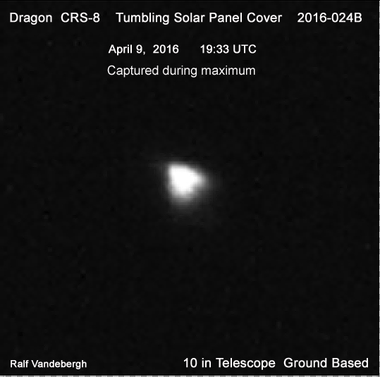 Dragon solar panel cover photographed while it was tumbling and showing the surface-side causing to brighten to maxium saturation. Taken with a 10 in telescope on April 9, 2016 (credit: Ralf Vandebergh)