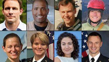 NASA's 2013 Astronaut Candidate Class. Top left to right: Josh A. Cassada, Ph. D.; Victor J. Glover, Lt. Commander, U.S. Navy; Tyler N. Hague (Nick), Lt. Colonel, U.S. Air Force; Christina M. Hammock, NOAA Station Chief. Bottom left to right: Nicole Aunapu Mann, Major, U.S. Marine Corps; Anne C. McClain, Major, U.S. Army; Jessica U. Meir, Ph.D.; Andrew R. Morgan, M.D., Major, U.S. Army (Credits: NASA)