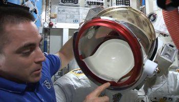 Cassidy explains EVA leak (Credits: NASA).