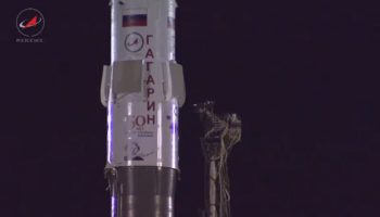 A Soyuz readies for launch (Credits: Roscosmos).