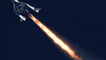 On Sept. 5, 2013 Virgin Galactic's SpaceShipTwo was released from its carrier aircraft and proceeded to conduct its second supersonic flight (Credits: Mars Scientific / Clay Center Observatory).