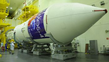 The Zenit-3SLB vehicle assigned to the AMOS-4 mission is readied for launch at Baikonur. Photo Credit: Israel Aerospace Industries (IAI)