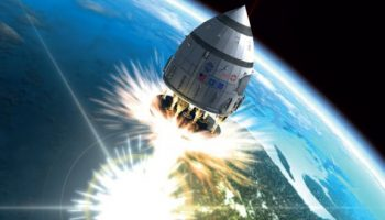 Artist's conception of a nuclear pulse powered spacecraft. Credits: Rhys Taylor - www.rhysy.net