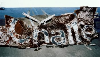Of all the fragments of Challenger which were recovered, this shard of the craft, bearing part of her name, was particularly poignant (Credits: NASA).