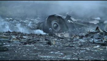 Debris at the crash site of Malaysia Airlines Flight MH17 in Ukraine