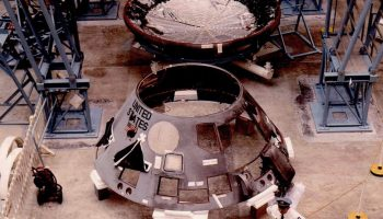 The Apollo 1 spacecraft nearing the end of the disassembly