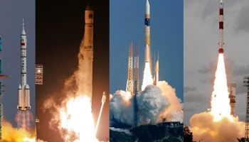 A Chinese Long March II-F rocket loaded with a Shenzhou-9 spacecraft carrying Chinese astronauts; a Russian Zenit-2SB rocket with a Phobos-Grunt spacecraft; a Japanese H-2A rocket carrying a radar satellite; and an Indian PSLV-C18 rocket carrying an Indian-French satellite. - Credits: Reuters; Associated Press; Associated Press and Agence France-Presse/Getty Images.